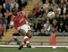 Ian Wright scoring for Arsenal v Blackburn, Oct. 12th, 1996. Photo: David T. Hewitson/Sports for All Pics/EMPICS Photo Agency