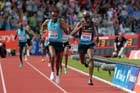 Mo Harah (GB) outsprints Yenew Alamirew (Eith) in the 5000 metres at the IAAF Diamond League, Birmingham.