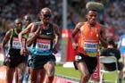 Mo Farah (GB) and Hagos Gebrhiwet (Eth) lead the 5000 metres at the IAAF Diamond League, Birmingham.