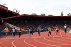 Mens 100 metres, from left to right: Nesta Carter, Kimmari Roach,  Michael Rodgers, James Dasaolu, Kim Collins, James Ellington and Junio Forte at the IAAF Diamond League, Birmingham.