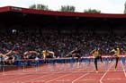Mens 110 metres, from left to right: Artur Noga, Balezs Baji, Thomas Martinot-Lagarde, Aries Merritt, Ryan Braithwaite and Omoghan Osaghse IAAF Diamond League, Birmingham.
