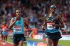 Mo Farah (GB) celebrate after outsprinting Yenew Alamirew (Eith) in the 5000 metres at the IAAF Diamond League, Birmingham.