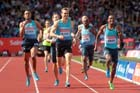 Mohammed Aman beats Andre Oliver and Andrew Osagie in the 800 metres at the IAAF Diamond League, Birmingham.