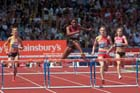 Perri Shakes-Drayton on her way to victory in the 400 metres hurdles in the IAAF Diamond League, Birmingham.