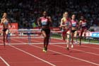 Perri Shakes-Drayton beats Eilidh Child in the 400 metres hurdles in the IAAF Diamond League, Birmingham.