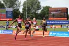 Womens 200 metres, from left to right: Blessing Okagbare, Shelly-Ann Fraser-Pryce, Anthonique Strachan, Mariya Ryemyen and Anyika Onuora, IAAF Diamond League, Birmingham.