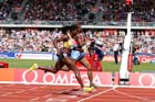Christine Ohuruogu (GB) beats Amantle Montsho (Bot) in the 400 metres at the IAAF Diamond League, Birmingham.