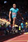 Yoann Rapinier (France), triple jump at the IAAF Diamond League, Birmingham.
