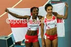 Bianca Williams and Jodie Williams (England) after the 200 metres final at the Commonwealth Games, Glasgow. Photo: David T. Hewitson/Sports for All Pics