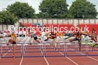 Junior girls 75 metres hurdles, 2015 English Schools Track and Field Champs., Gateshead Stadium. Photo: David T. Hewitson/Sports for All Pics