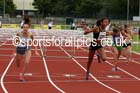 Under-15 girls 75 metres hurdles. Photo: David T. Hewitson/Sports for All Pics