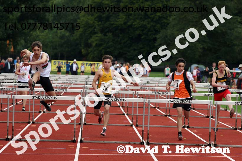Mens and Boys hurdles at the Northern Inter-Counties under-17s and 15s at Witton Park, Blackburn. Photo: David T. Hewitson/Sports for All Pics