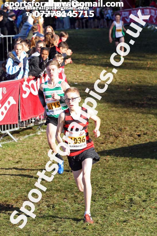 Boys under-15s National Cross Country Relay, Berry Hill Park, Mansfield. Photo:  David T. Hewitson/Sports for All Pics