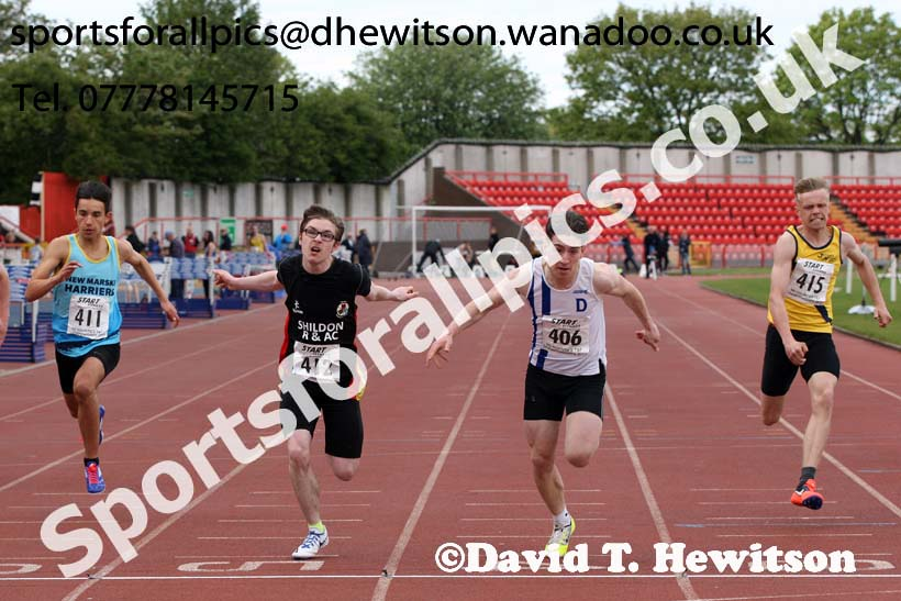 Mens under-17s 100 metres, North Eastern Champs, Gateshead Stadium. Photo: David T. Hewitson/Sports for All Pics