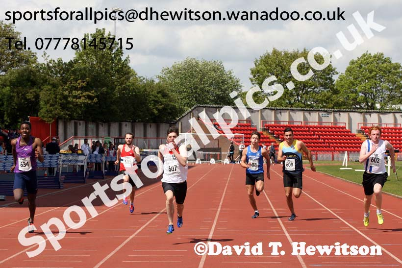 Mens under-20s 100 metres, North Eastern Champs, Gateshead Stadium. Photo: David T. Hewitson/Sports for All Pics