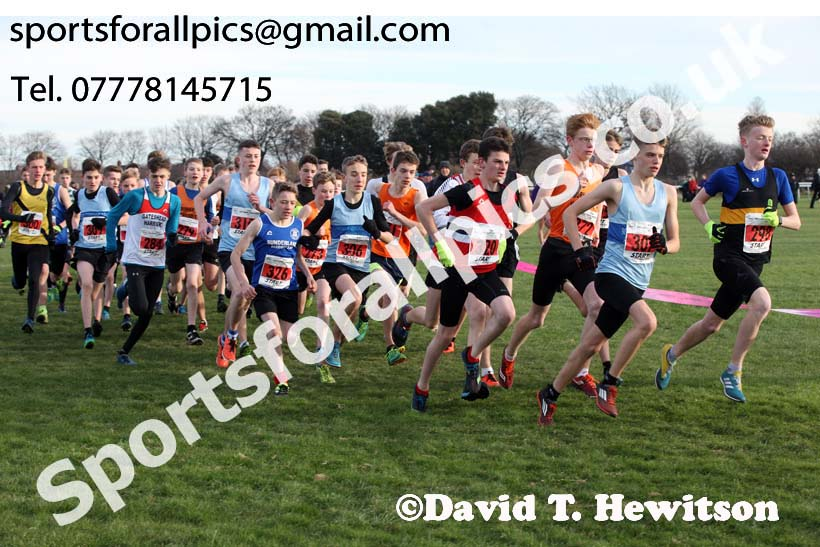 Boys under-15 North Eastern Cross Country, Redcar. Photo:  David T. Hewitson/Sports for All Pics