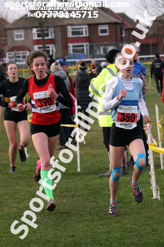 Girls under-15 North Eastern Cross Country, Redcar. Photo:  David T. Hewitson/Sports for All Pics