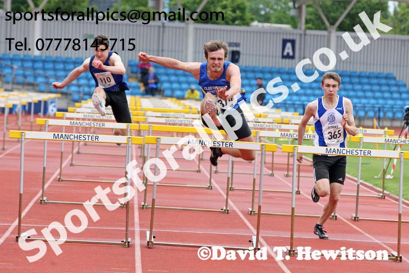 Mens under-20s 110 metres hurdles, Northern Senior and Under-20s Champs., SportsCity, Manchester. Photo: David T. Hewitson/Sports for All Pics