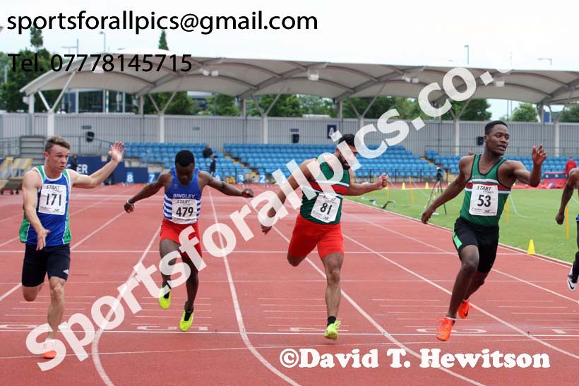 Senior mens 100 metres, Northern Senior and Under-20s Champs., SportsCity, Manchester. Photo: David T. Hewitson/Sports for All Pics