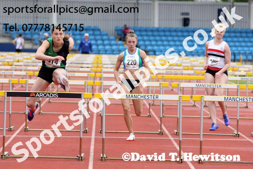 Senior womens100 metres hurdles, Northern Senior and Under-20s Champs., SportsCity, Manchester. Photo: David T. Hewitson/Sports for All Pics