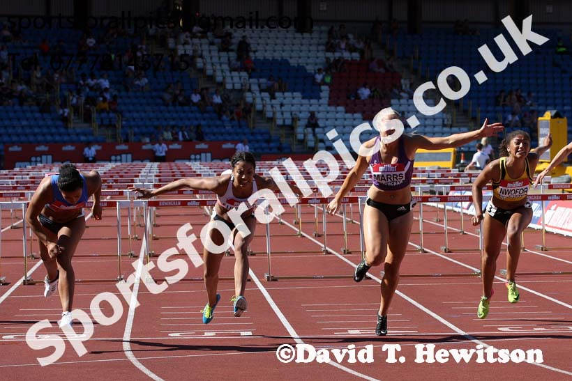 Womens 100 metres hurdles, Muller British Championships, Alexander Stadium, Birmingham. Photo: David T. Hewitson/Sports for All Pics