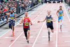 Mens IPC 100 metres, 2018 Great North CityGames. Photo: David T. Hewitson/Sports for All Pics