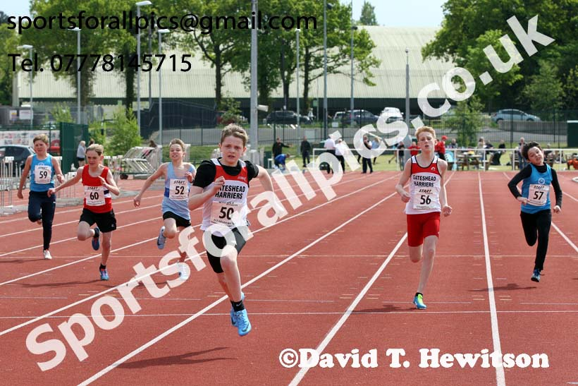 Boys under-13s 100 metres, North Eastern Track and Fields Champs., Middlesbrough. Photo: David T. Hewitson/Sports for All Pics