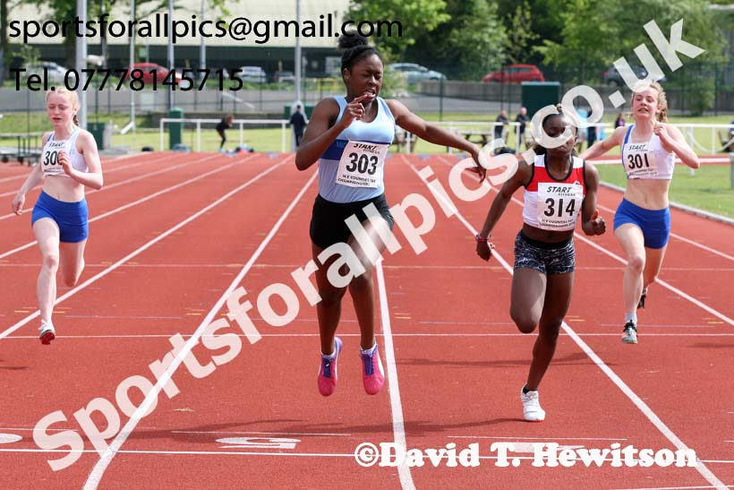 Girls under-15s 200 metres, North Eastern Track and Fields Champs., Middlesbrough. Photo: David T. Hewitson/Sports for All Pics