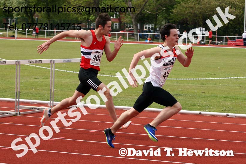 Mens under-17 hurdles, North Eastern Track and Fields Champs., Middlesbrough. Photo: David T. Hewitson/Sports for All Pics