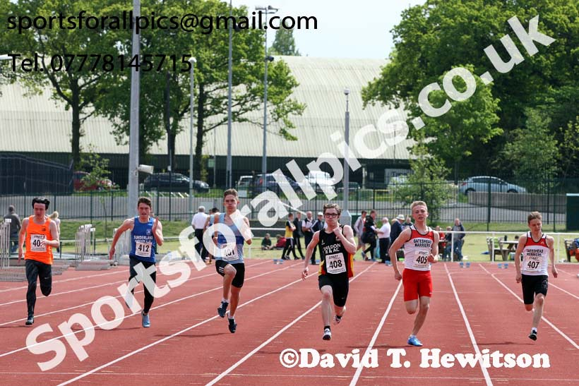 Mens under-20 100 metres, North Eastern Track and Fields Champs., Middlesbrough. Photo: David T. Hewitson/Sports for All Pics