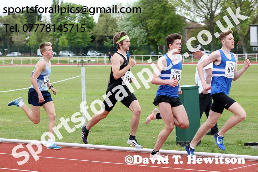 Mens under-20s 1500 metres, North Eastern Track and Fields Champs., Middlesbrough. Photo: David T. Hewitson/Sports for All Pics