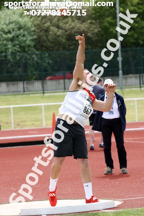 Senior mens shot, North Eastern Track and Fields Champs., Middlesbrough. Photo: David T. Hewitson/Sports for All Pics