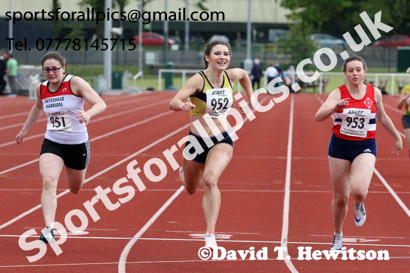 Senior womens 100 metres, North Eastern Track and Fields Champs., Middlesbrough. Photo: David T. Hewitson/Sports for All Pics