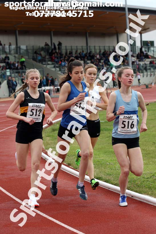 Womens under-17s 1500 metres, North Eastern Track and Fields Champs., Middlesbrough. Photo: David T. Hewitson/Sports for All Pics