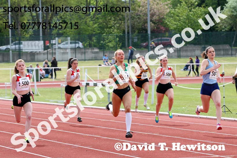 Womens under-17s 200 metres, North Eastern Track and Fields Champs., Middlesbrough. Photo: David T. Hewitson/Sports for All Pics