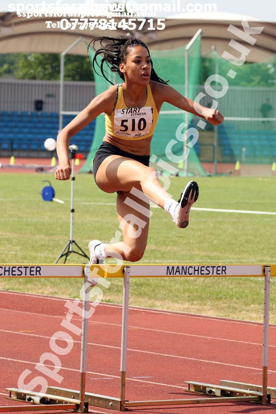Womens under-20s 400 metres hurdles, Northern Senior and Under-20s Champs., Sports City, Manchester. Photo: David T. Hewitson/Sports for All Pics