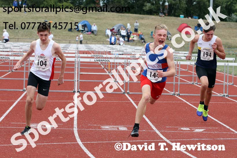 Boys under-15s 80 hurdles, 2018 Northern Under-17s/U-15s/U-13s Champs., Wavertree Athletics Centre, Liverpool. Photo: David T. Hewitson/Sports for All Pics