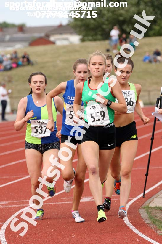 Womens under-17s 3000 metres, 2018 Northern Under-17s/U-15s/U-13s Champs., Wavertree Athletics Centre, Liverpool. Photo: David T. Hewitson/Sports for All Pics