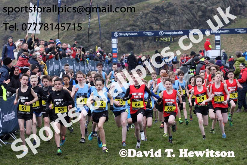 Inter District boys under-13s, 2018 Simplyhealth Great Edinburgh International XCountry. Photo: David T. Hewitson/Sports for All Pics
