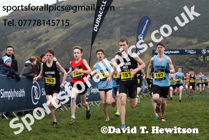 Inter District under-15 boys, 2018 Simplyhealth Great Edinburgh International XCountry. Photo: David T. Hewitson/Sports for All Pics