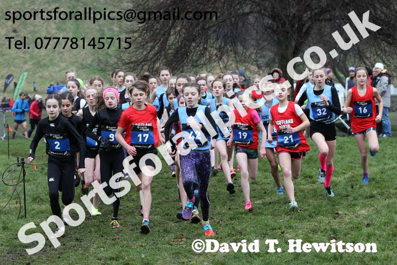 Inter District girls under-13s, 2018 Simplyhealth Great Edinburgh International XCountry. Photo: David T. Hewitson/Sports for All Pics