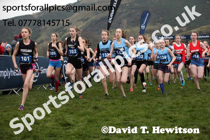 Inter District under-15 girls, 2018 Simplyhealth Great Edinburgh International XCountry. Photo: David T. Hewitson/Sports for All Pics