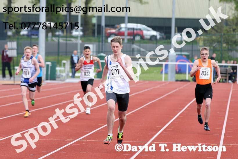 Boys under-15s 300 metres, 2019 North Eastern Track and Field Champs., Middlesbrough. Photo:  David T. Hewitson/Sports for All Pics