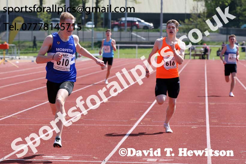 Mens under-20s 400 metres, 2019 North Eastern Track and Field Champs., Middlesbrough. Photo:  David T. Hewitson/Sports for All Pics