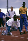 Linford Christie wearing one of his many outfits at the UK Champs, Cardiff, 1990