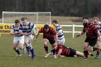 Tynedale's Sam Reynolds on the charge against Blackheath, National League Division 1, Tynedale Park, Corbridge, Northumberland.