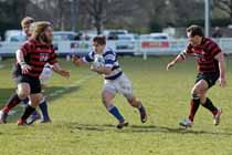 Tynedale's Harry Peck breaks through against Blackheath, National League Division 1, Tynedale Park, Corbridge, Northumberland.