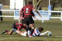 Tynedale's Matthew Outson scores a try against Blackheath, National League Division 1, Tynedale Park, Corbridge, Northumberland.