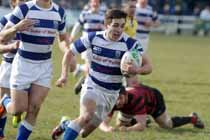 Tynedale's Harry Peck breaks through to score a try against Blackheath, National League Division 1, Tynedale Park, Corbridge, Northumberland.