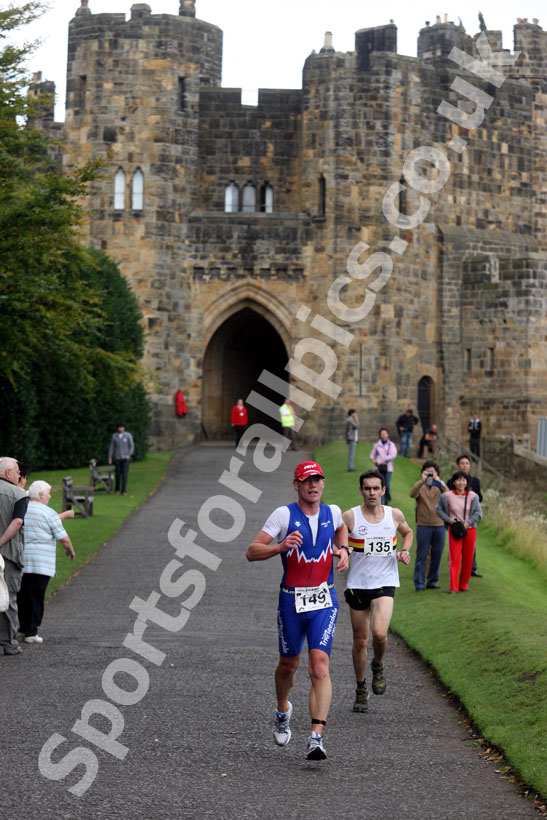 Alnwick Castle as the backdrop during the Bamburgh Triathlon